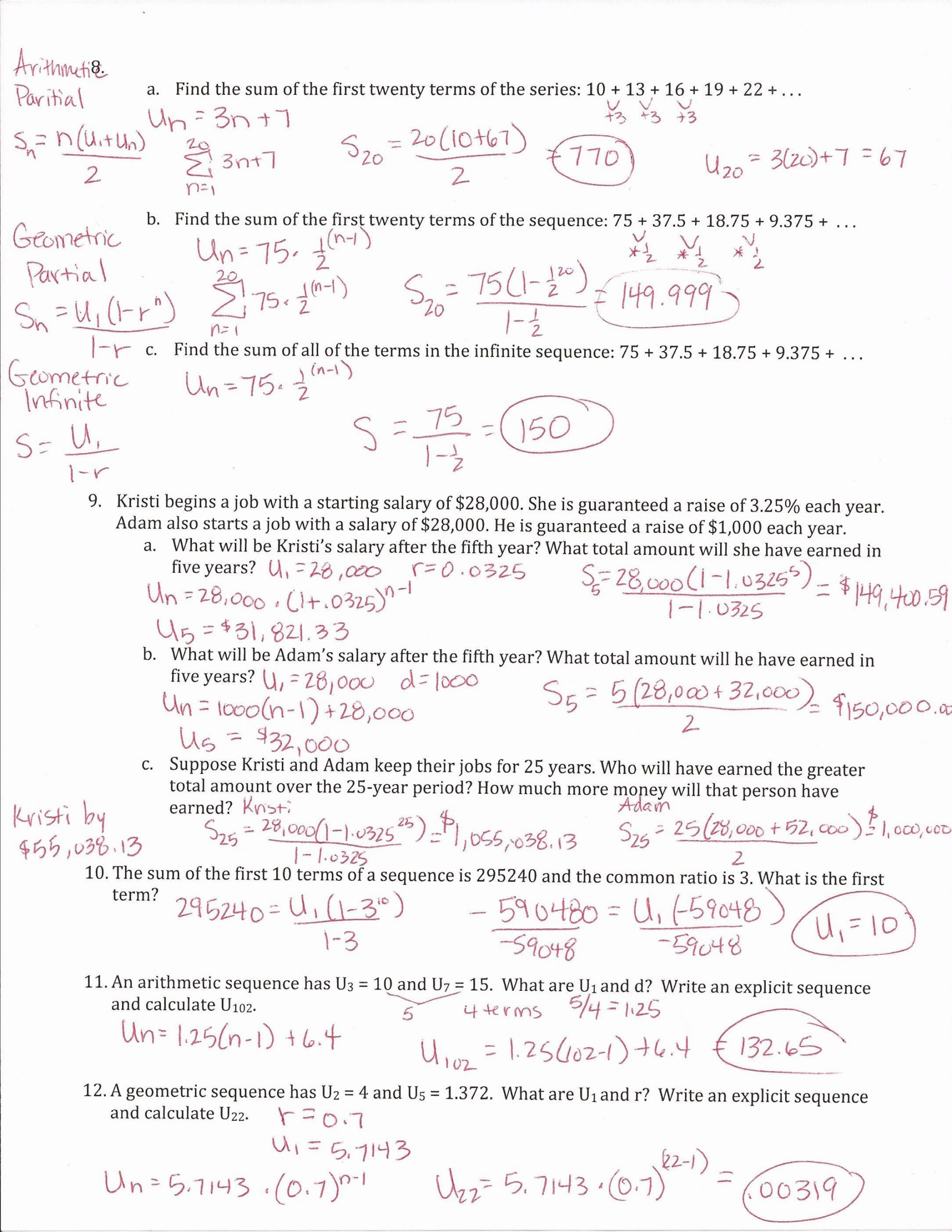 Geometric Sequence Worksheet Answers Recursive Sequences Worksheet