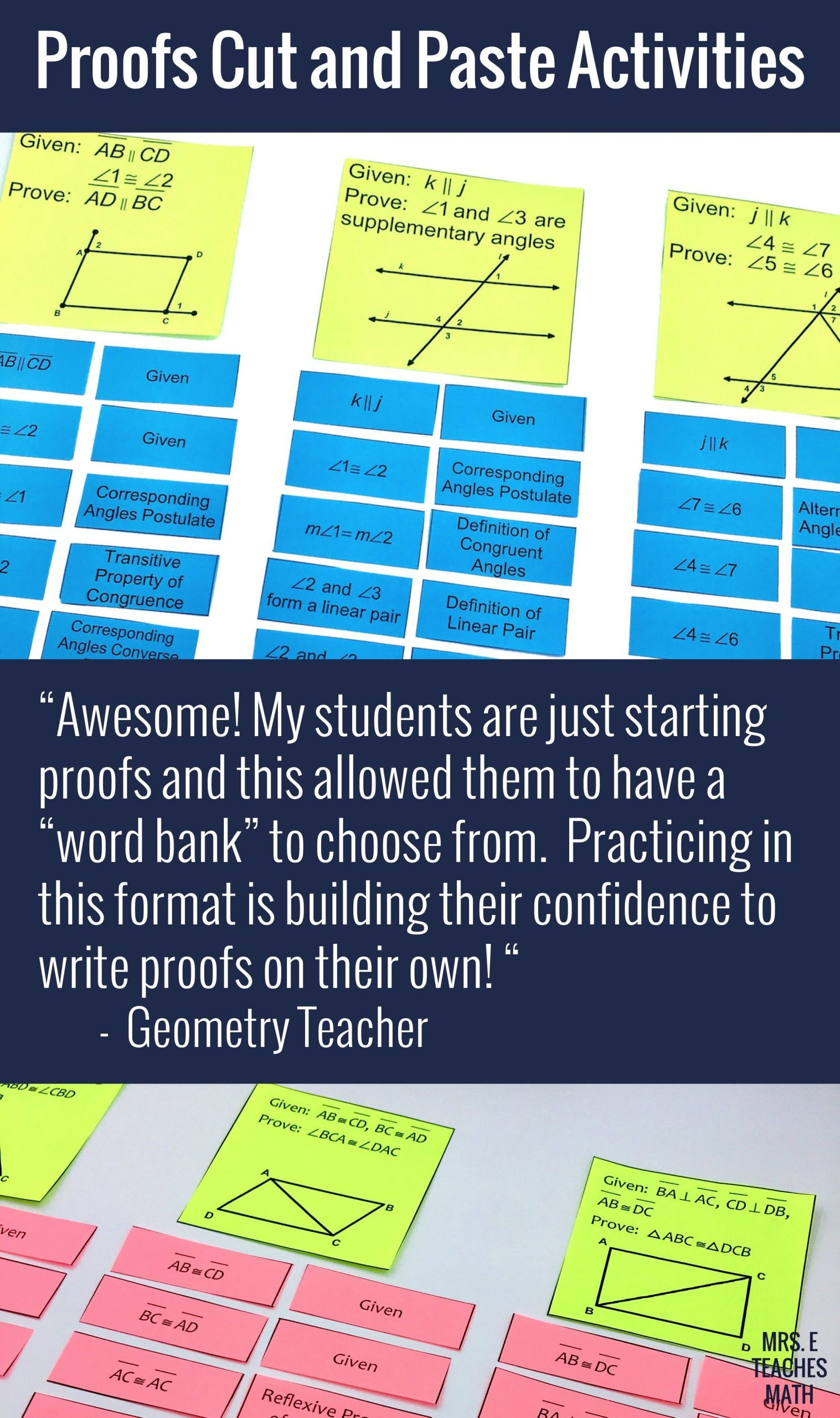 Geometry Proof Practice Worksheet Geometry Proofs Cut Out Activity Bundle