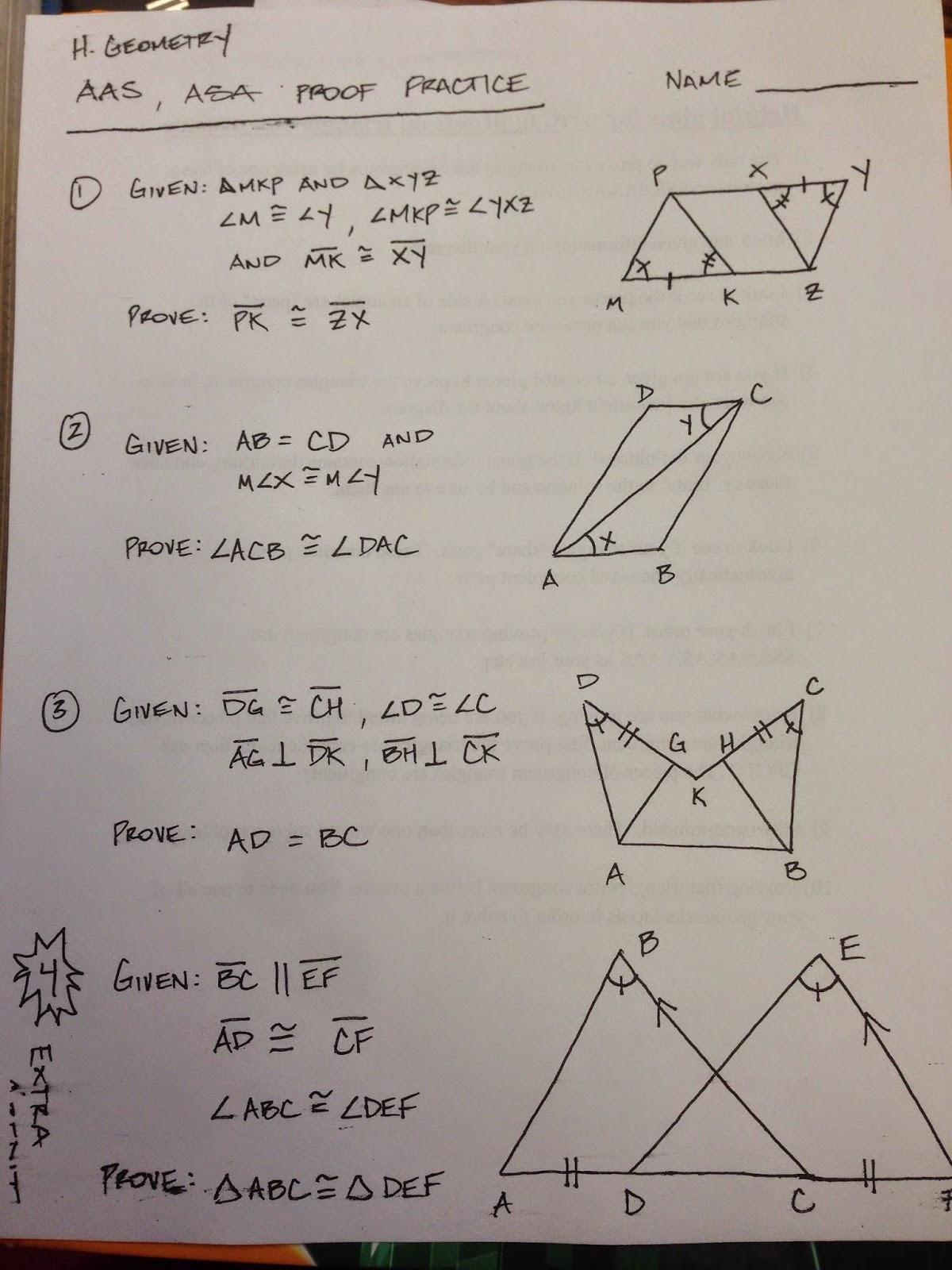 Geometry Proof Practice Worksheet Honors Geometry Vintage High School Section 4 5 Proof