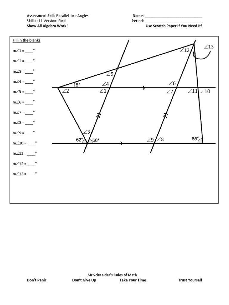Geometry Proof Practice Worksheet Parallel Line Angles Final