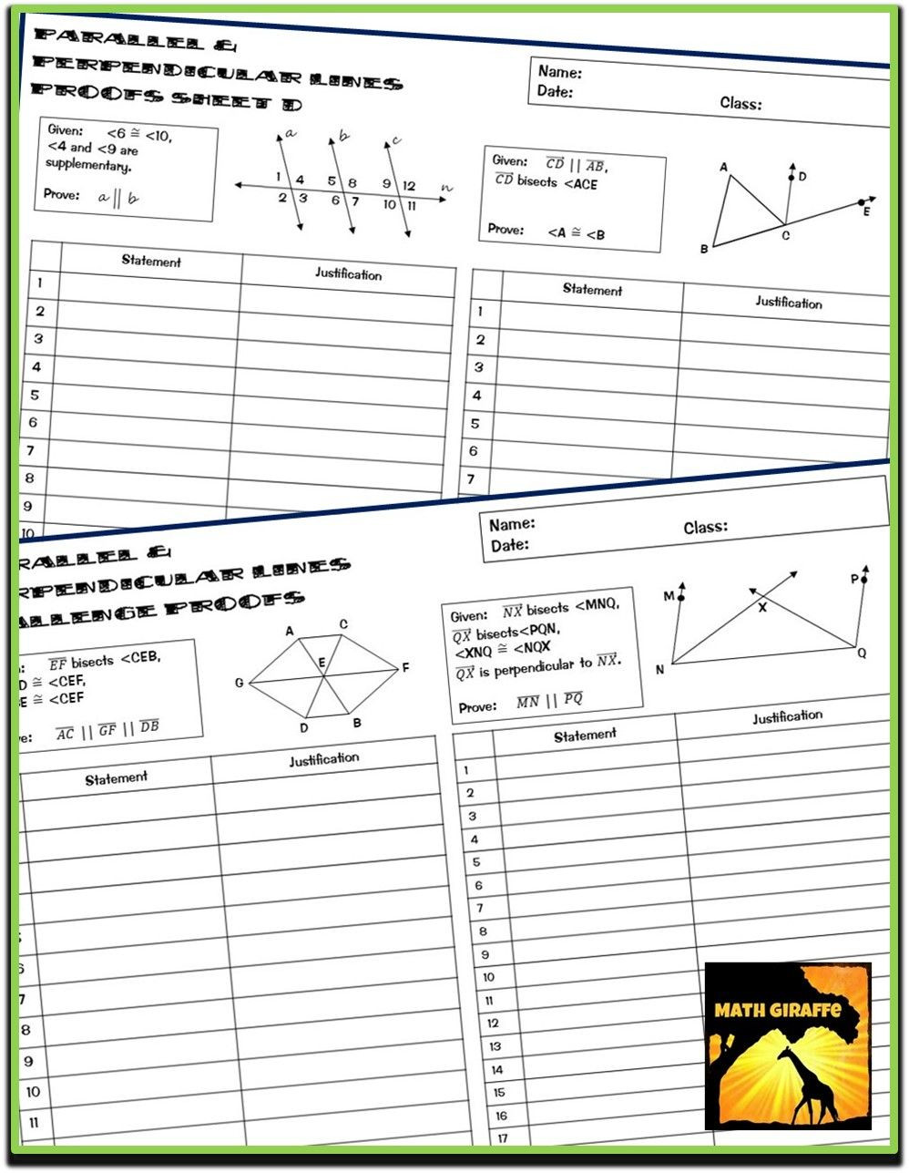 Geometry Proof Practice Worksheet Proofs with Parallel & Perpendicular Lines Two Column
