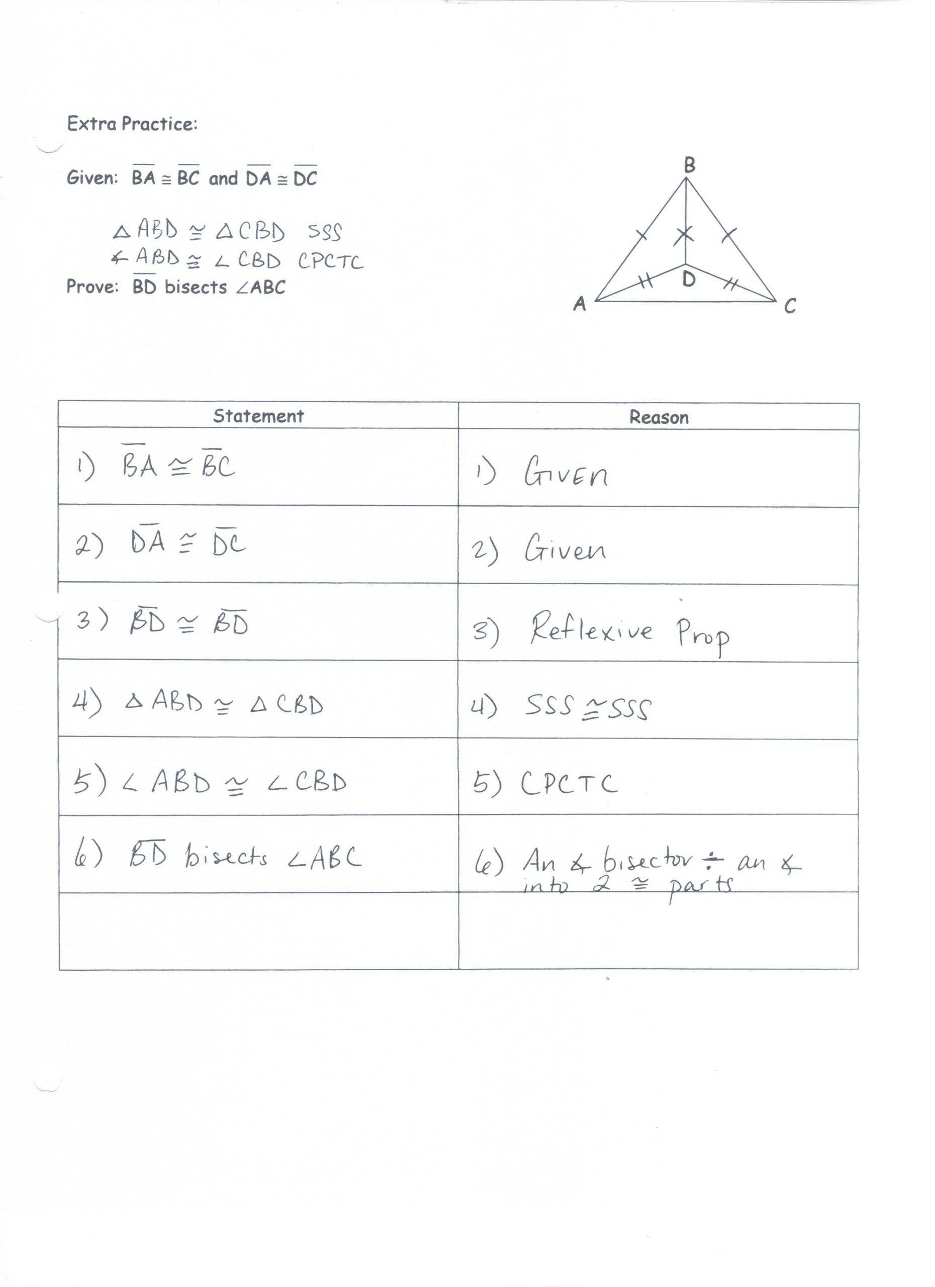 Geometry Proof Practice Worksheet Unit 2 Congruent Triangle Proofs