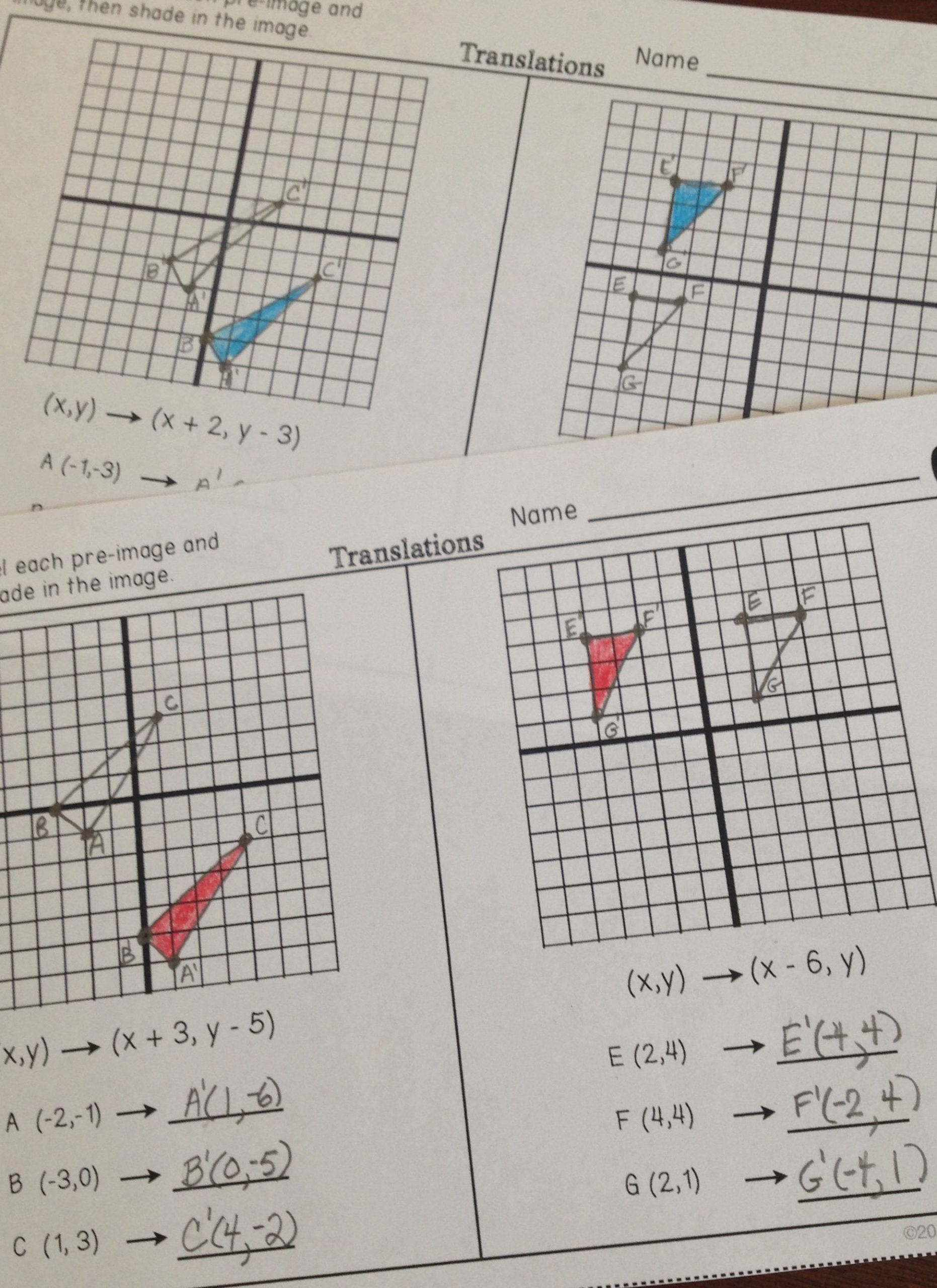 Geometry Transformation Composition Worksheet Answers Transformations Partner Practice Worksheets
