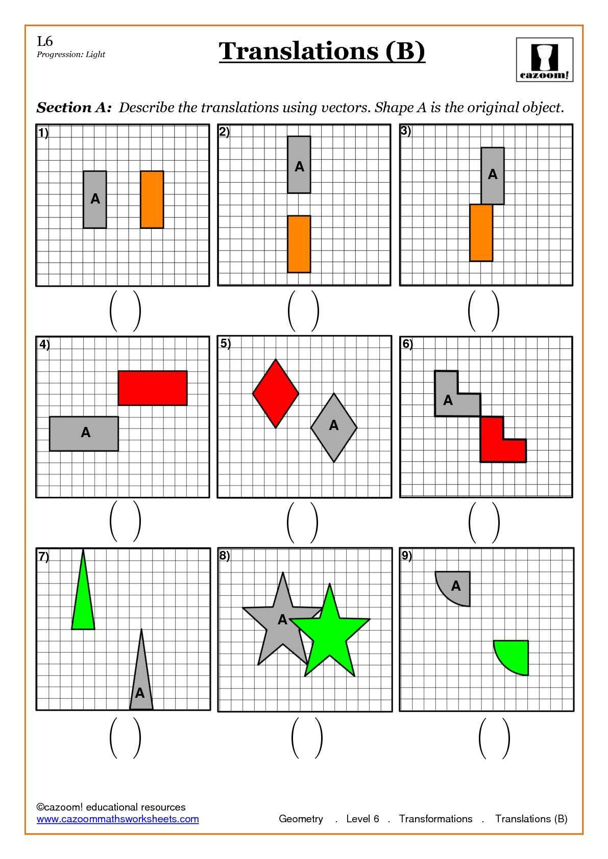 Geometry Transformation Composition Worksheet Answers Translating Shapes Worksheet