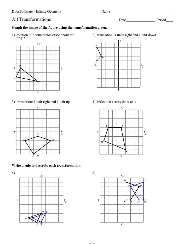 Geometry Transformations Worksheet Answers 12 All Transformations