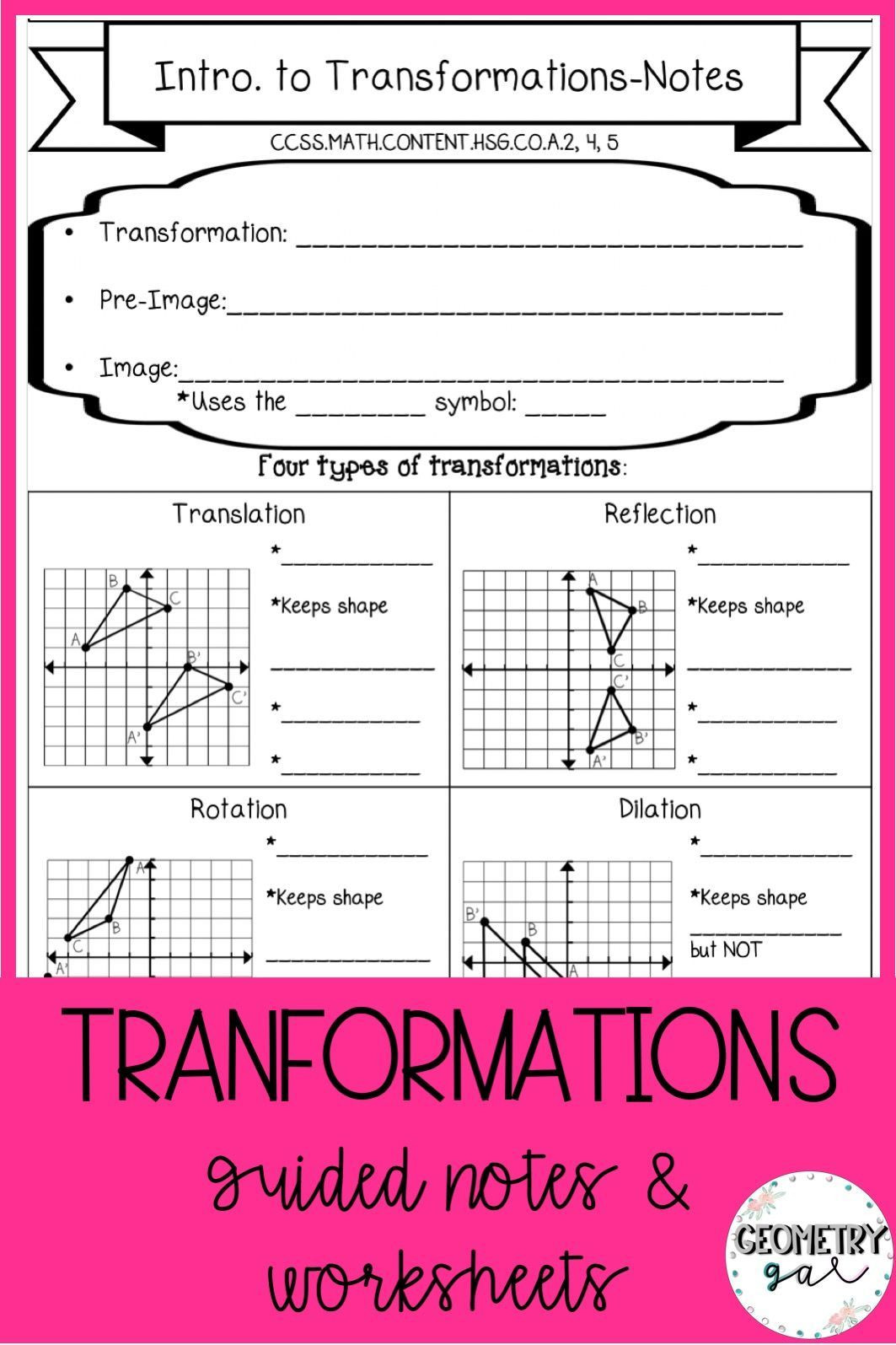 Geometry Transformations Worksheet Answers Geometry Transformations Guided Notes and Worksheets topics