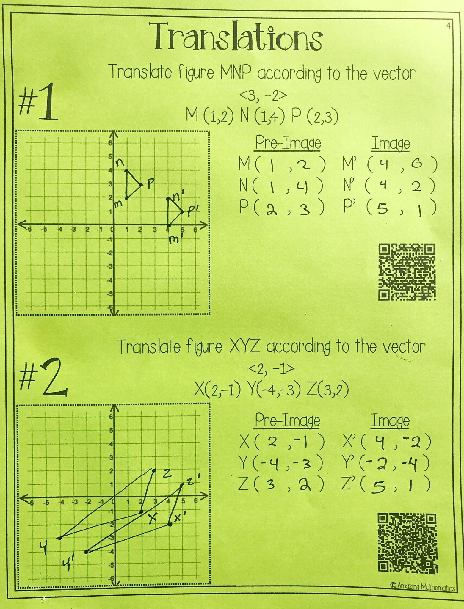 Geometry Transformations Worksheet Answers Hs Geometry Transformations Workbook Translations
