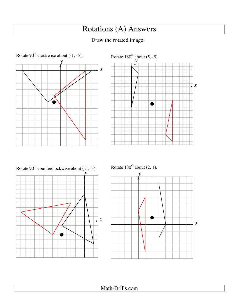 Geometry Transformations Worksheet Answers Rotation Of 3 Vertices Around Any Point A