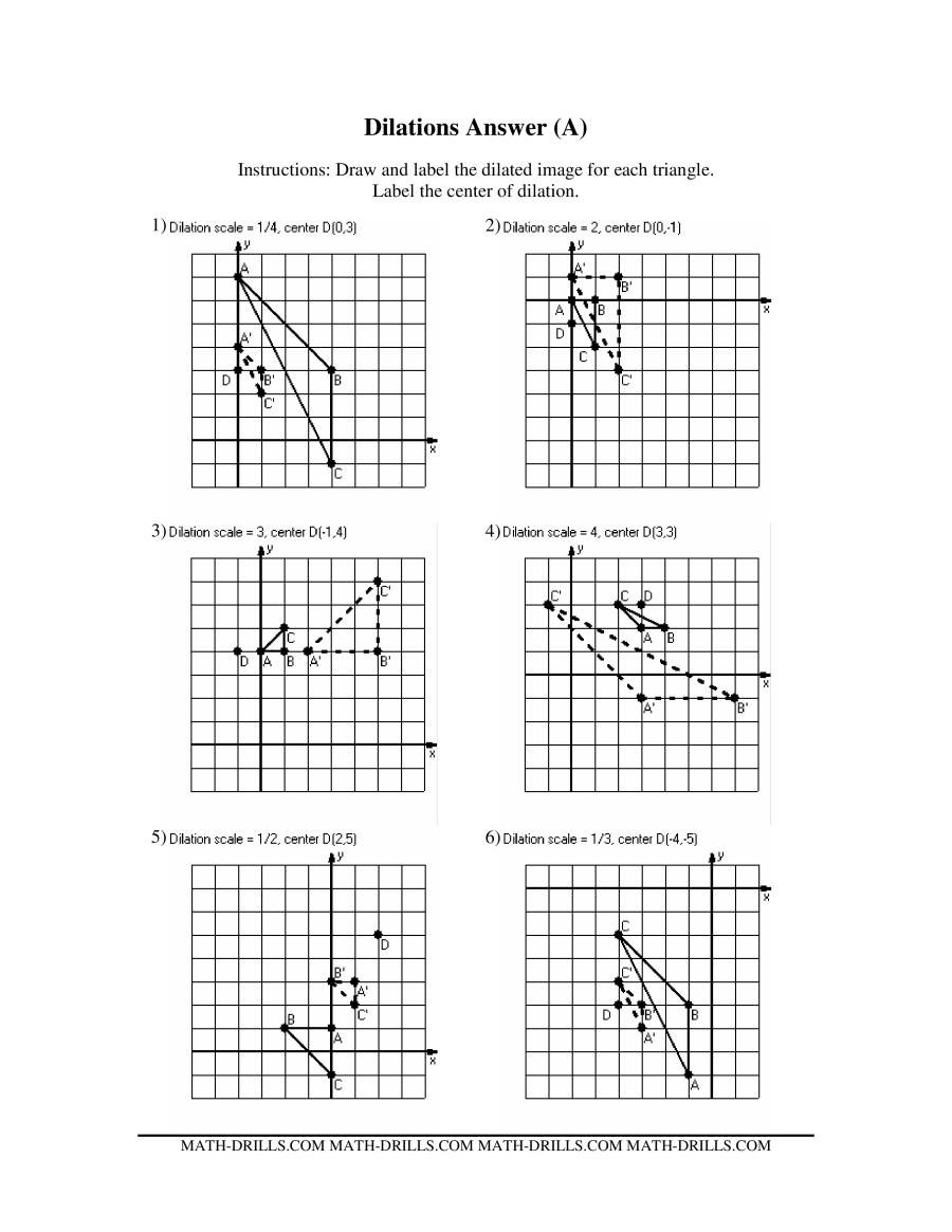 Geometry Transformations Worksheet Pdf Dilations Old Version A