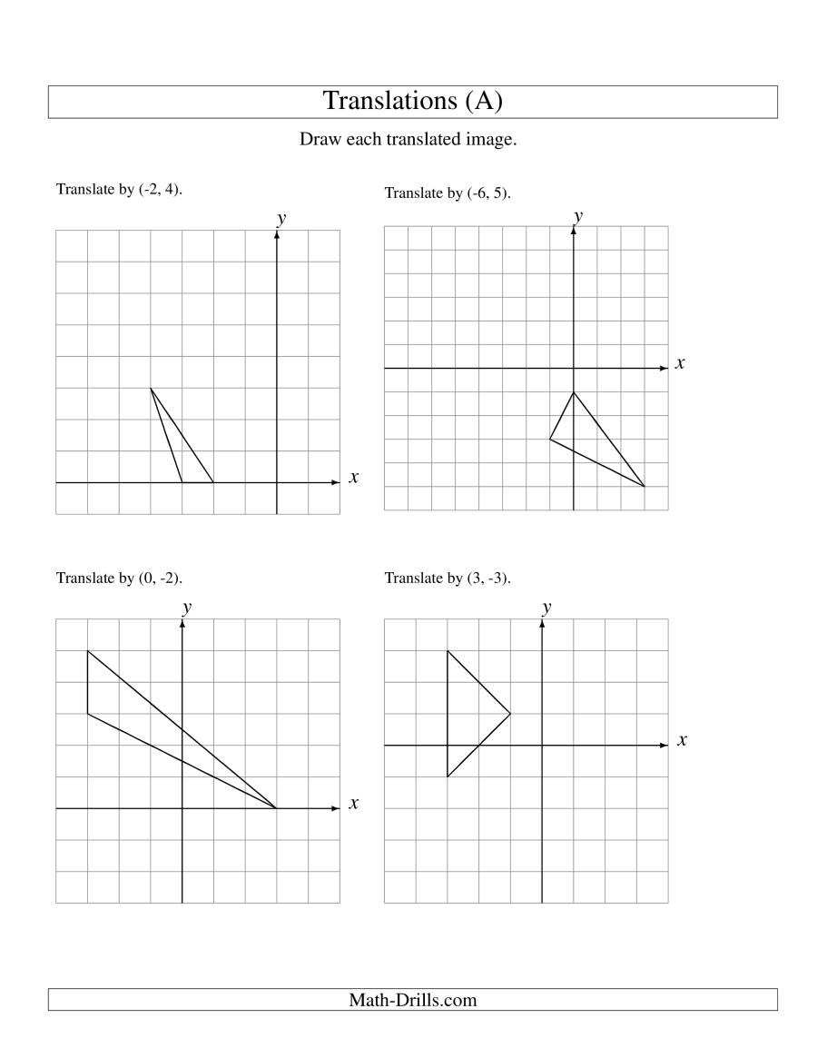 Geometry Transformations Worksheet Pdf Translating Shapes Worksheet