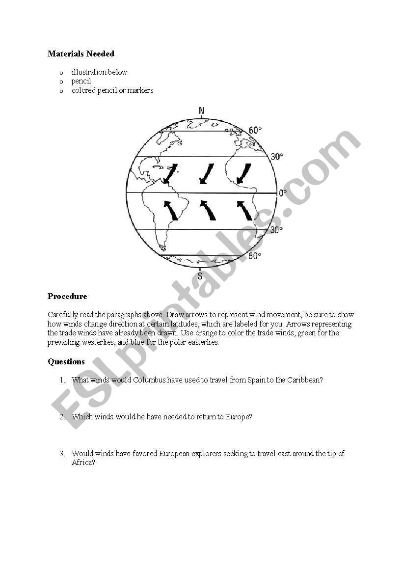 Global Wind Patterns Worksheet English Worksheets Global Wind Patterns