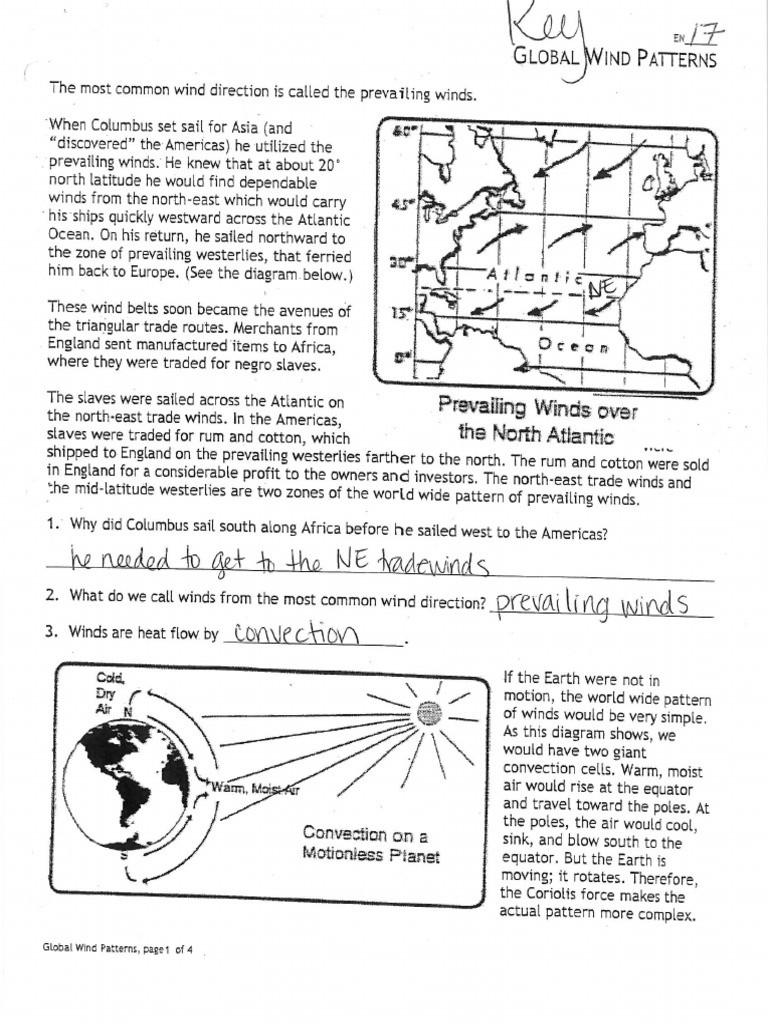 Global Wind Patterns Worksheet Examining Global Weather Pattern