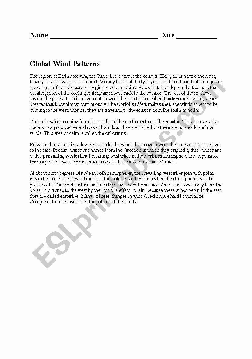 Global Wind Patterns Worksheet Global Wind Patterns Worksheet Luxury English Worksheets