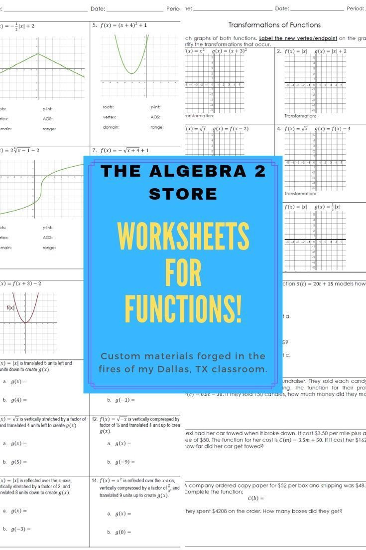 Graphing Inverse Functions Worksheet Custom Algebra 2 Worksheets Designed to Develop Mastery Of