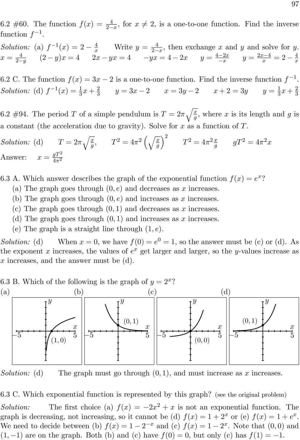 Graphing Inverse Functions Worksheet Exponential and Logarithmic Functions Pdf Free Download