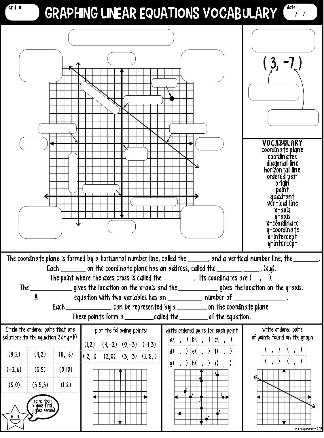 Graphing Linear Functions Worksheet Graphing Linear Equations Vocabulary Guided Notes