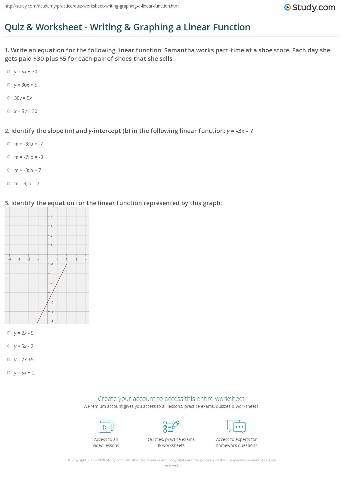 Graphing Linear Functions Worksheet Quiz & Worksheet Writing & Graphing A Linear Function