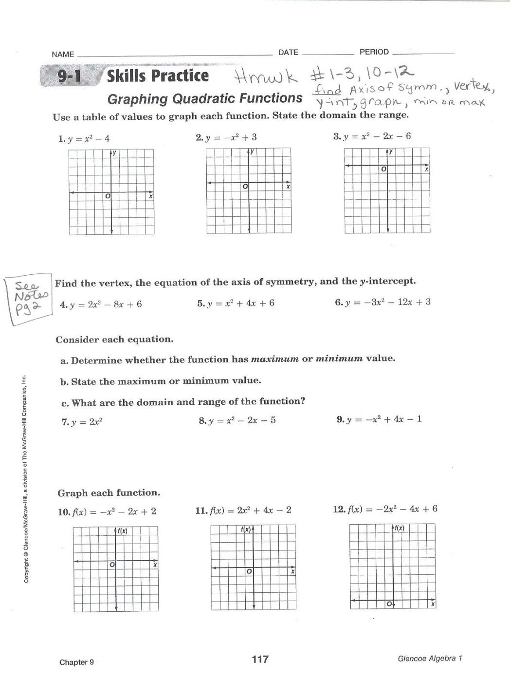 Graphing Quadratic Functions Worksheet Graph Quadratic Functions Worksheet Answers