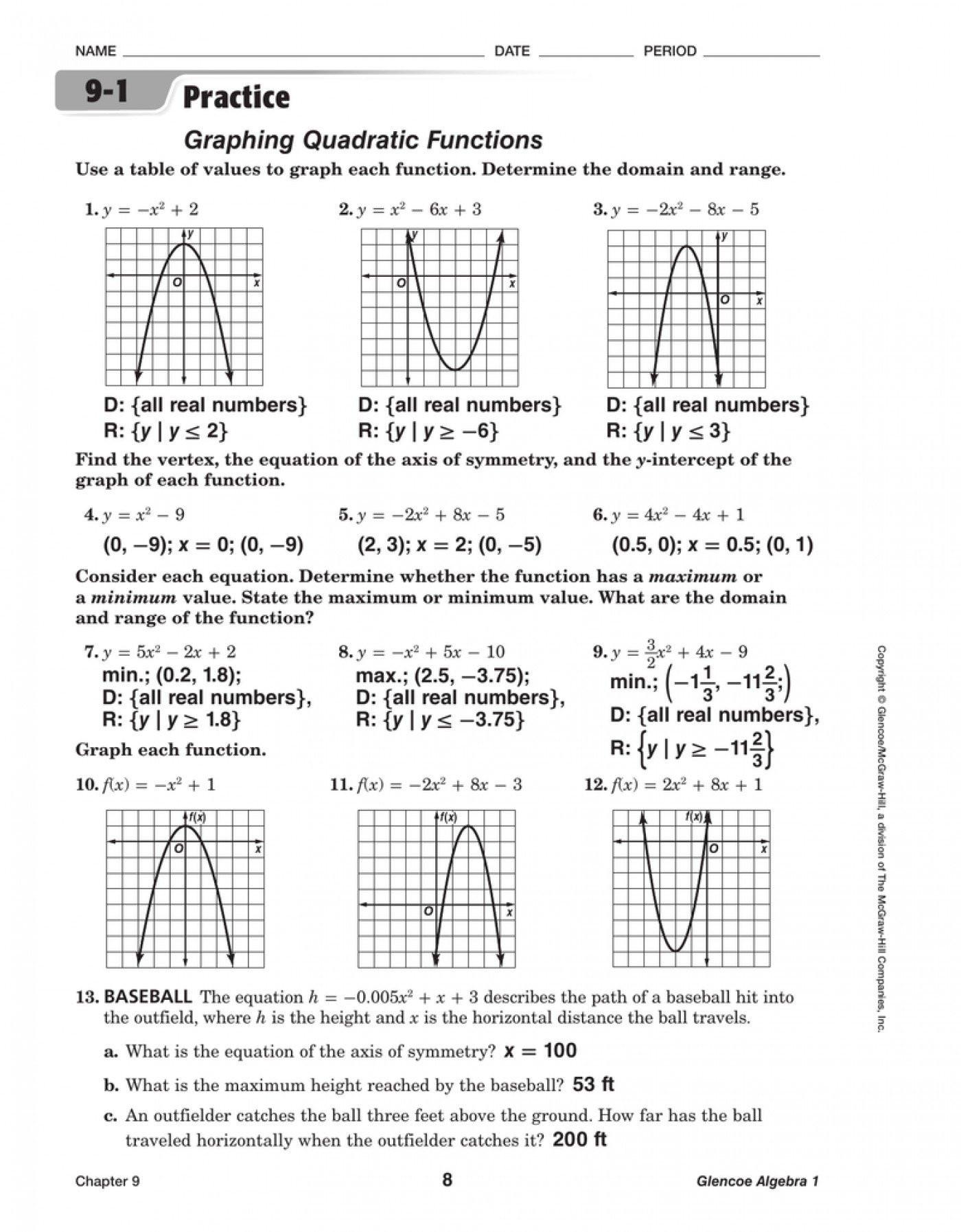 Graphing Quadratic Functions Worksheet Worksheet Graphing Quadratic Functions A 3 2 Answers
