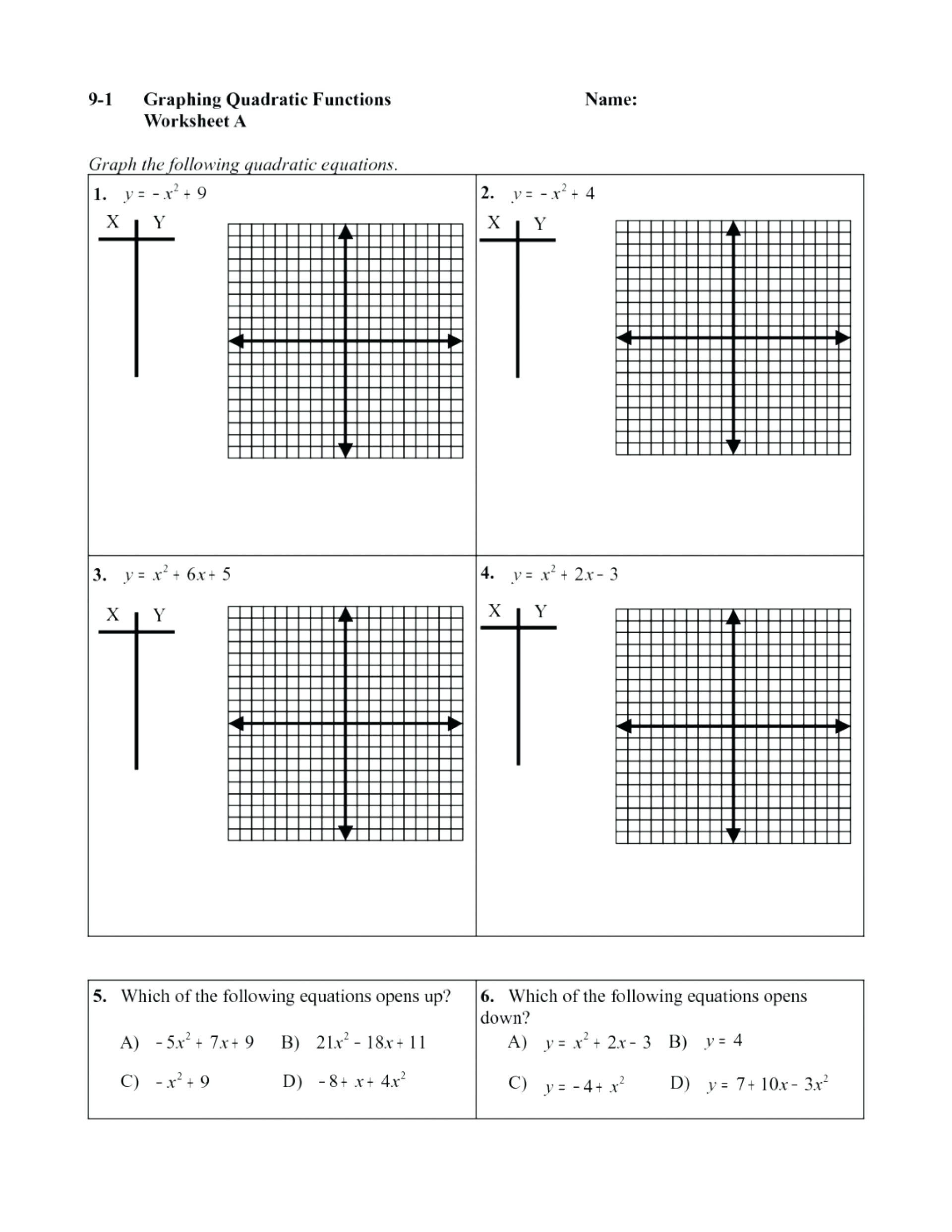Graphing Quadratic Functions Worksheet Worksheet Graphing Quadratic Functions In Vertex form