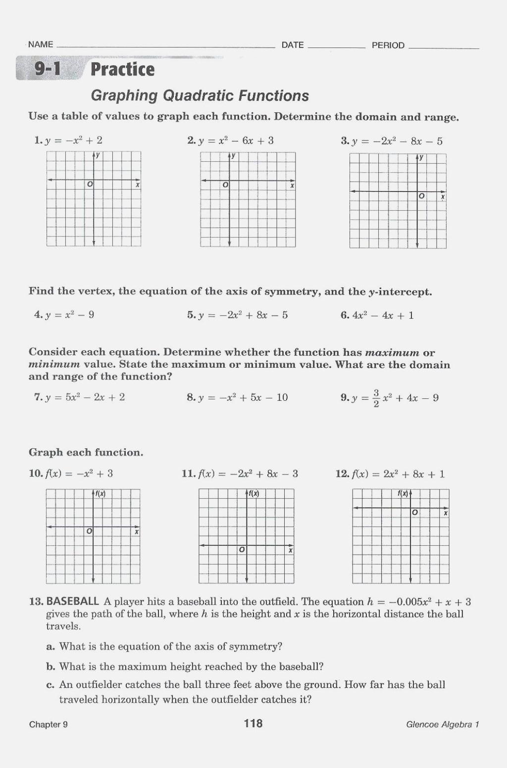 Graphing Quadratic Functions Worksheet Worksheet Graphing Quadratic Functions Keyfeatures