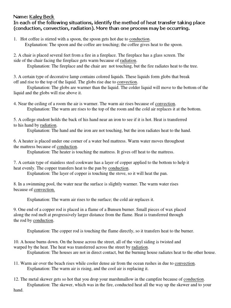 Heat Transfer Worksheet Answers Conduction Convection Radiation Ws Convection