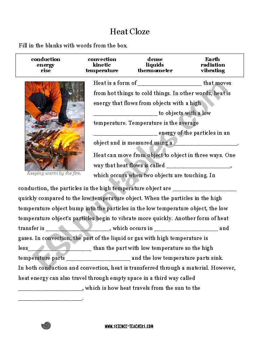 Heat Transfer Worksheet Answers Heat Transfer Cloze Activity Esl Worksheet by sofia123