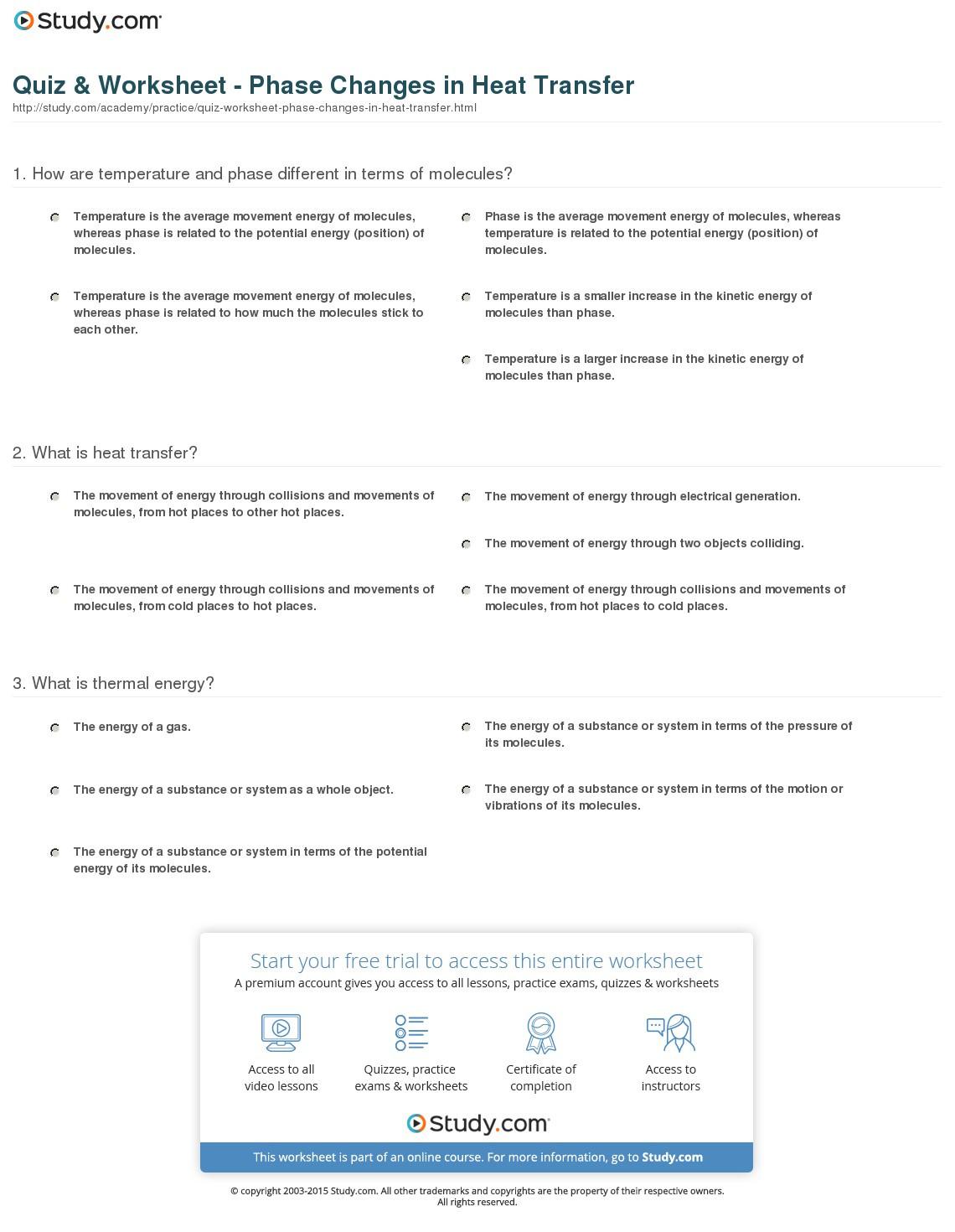 Heat Transfer Worksheet Answers Heat Transfer Problems Worksheet