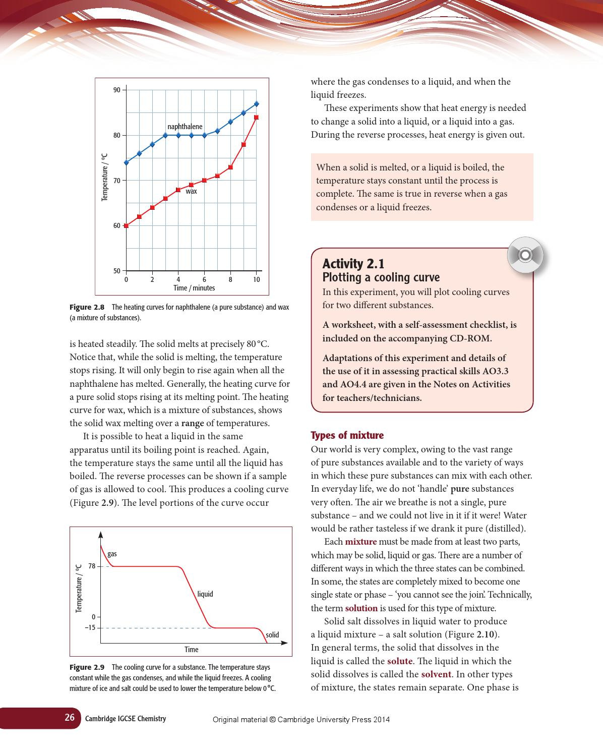 Heating and Cooling Curves Worksheet Cambridge Igcse Chemistry Coursebook Fourth Edition by