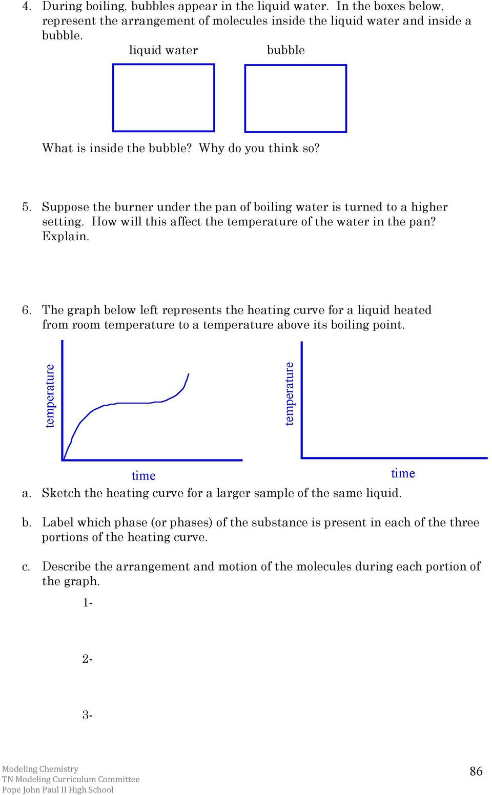 Heating and Cooling Curves Worksheet Chemistry Unit 3 Reading assignment Energy and Kinetic
