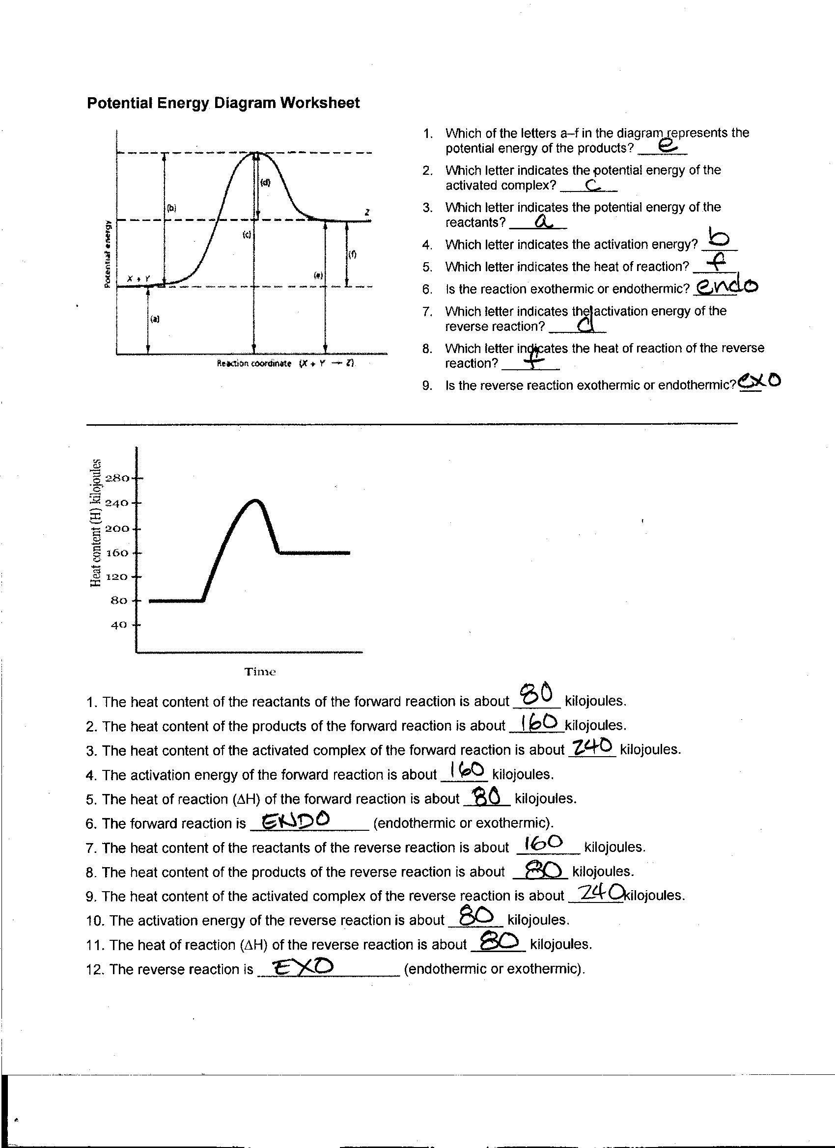 Heating Curve Worksheet Answers Foothill High School