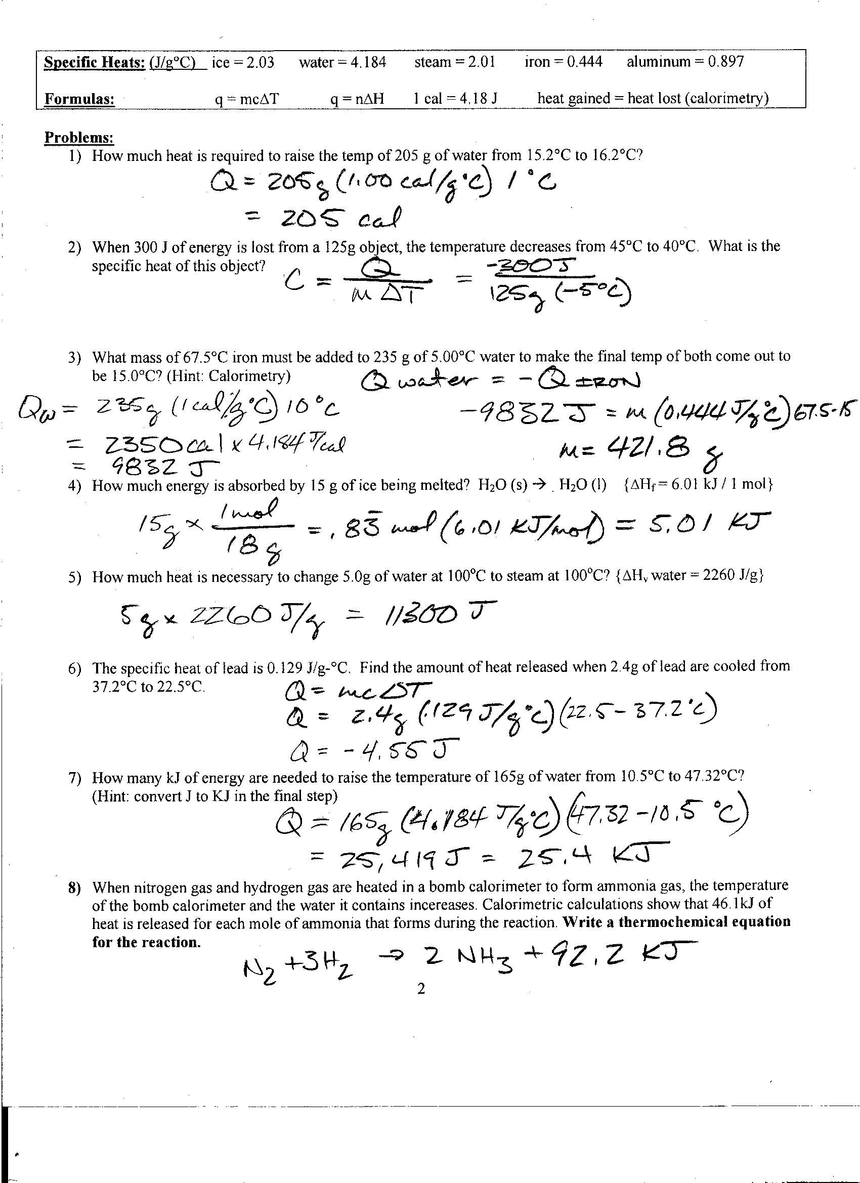 Heating Curve Worksheet Answers Heat Worksheet Key