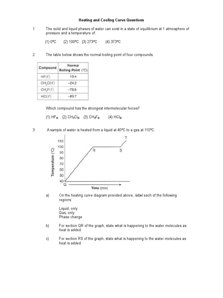 Heating Curve Worksheet Answers Heating and Cooling Curve Questions Grd 8