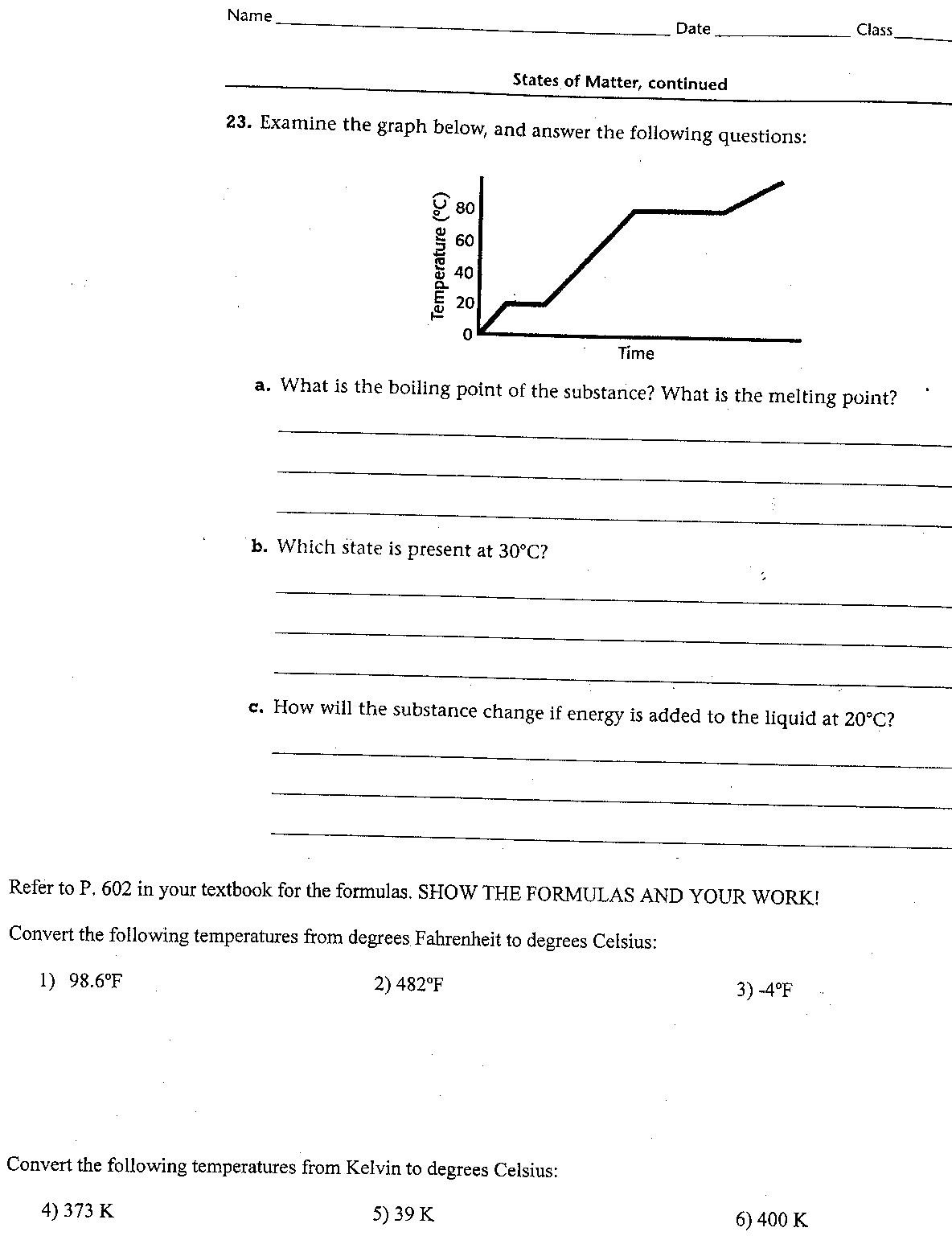 Worksheet Graph and Temp Conversions