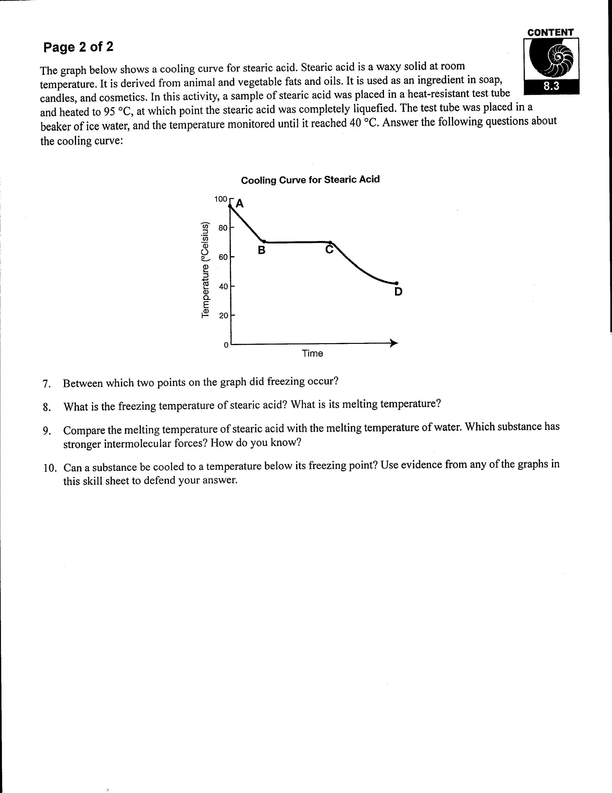 Heating Curve Worksheet Answers Rs Heating Heating and Cooling Curves Worksheet
