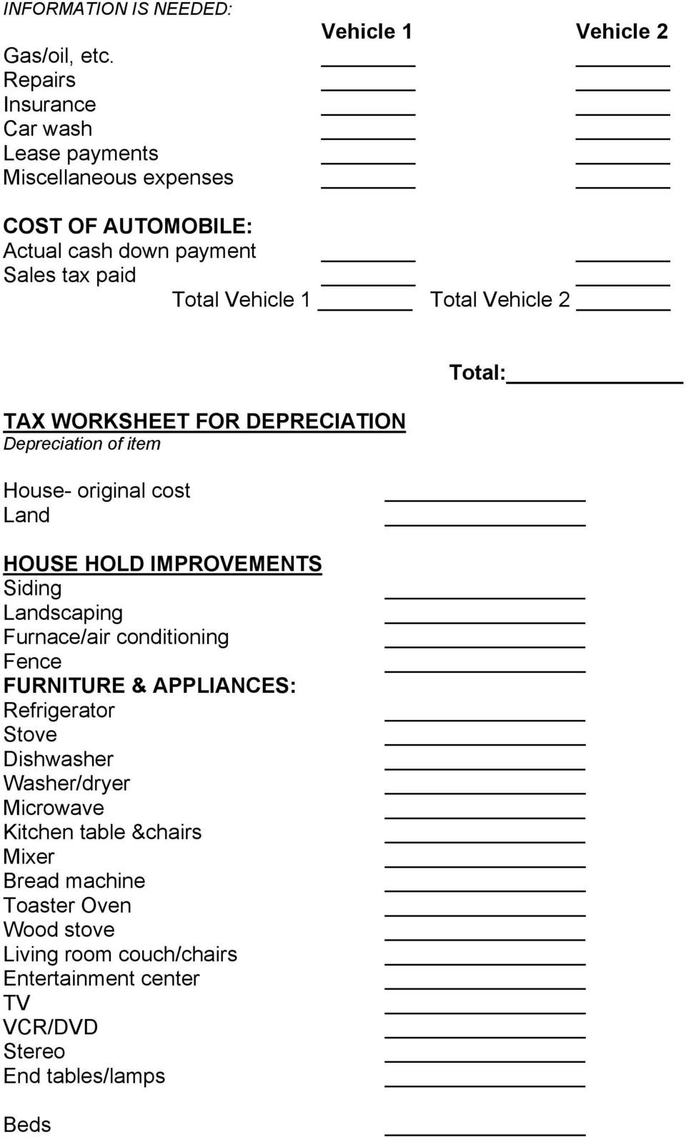Home Daycare Tax Worksheet Child Care Business form for Taxes Pdf Free Download