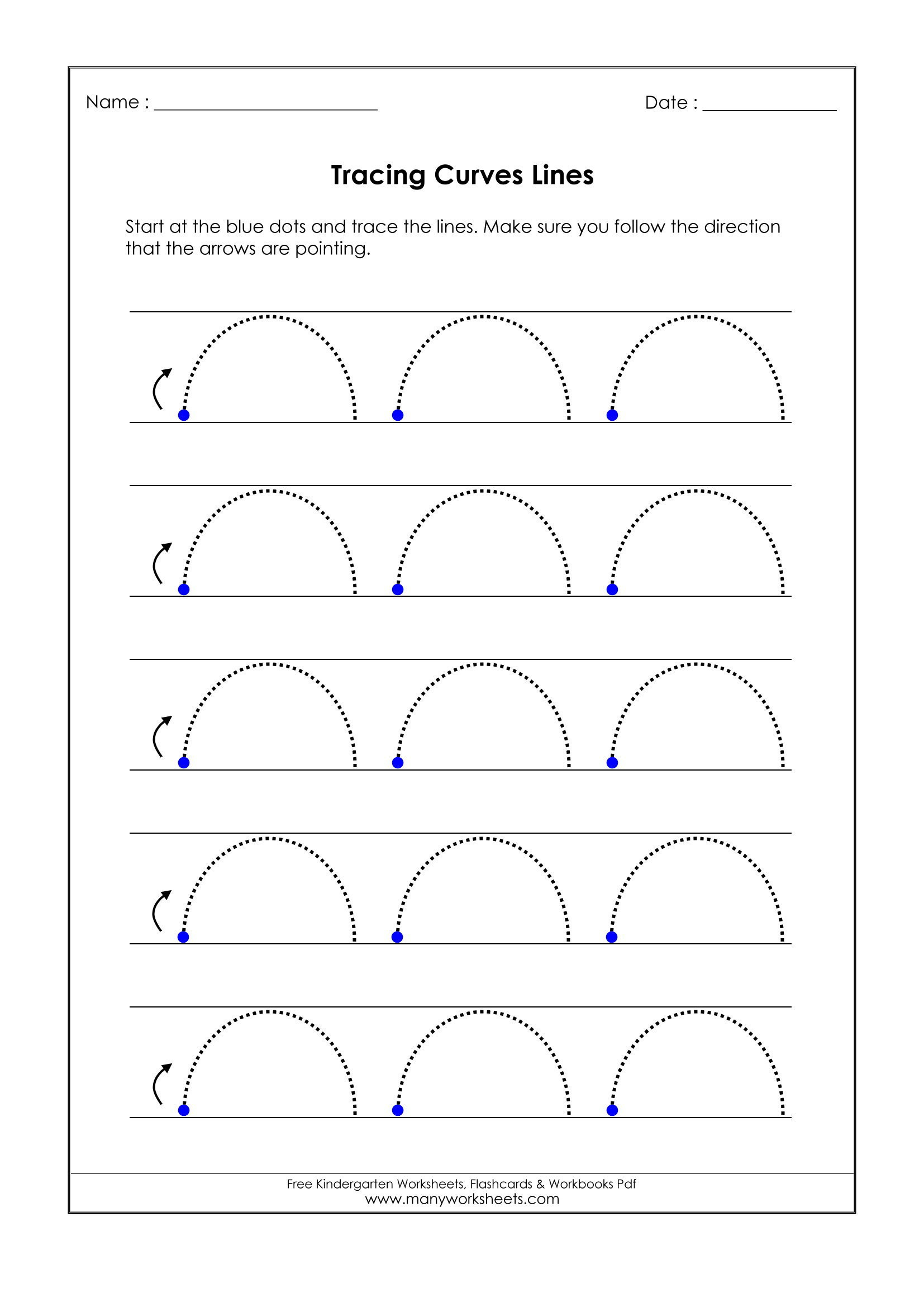 Horizontal and Vertical Lines Worksheet Curved Line Worksheet