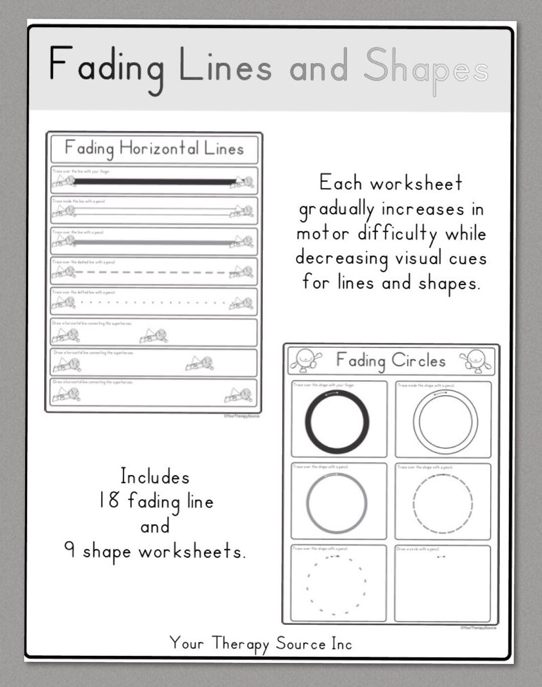 Horizontal and Vertical Lines Worksheet Fading Lines and Shapes