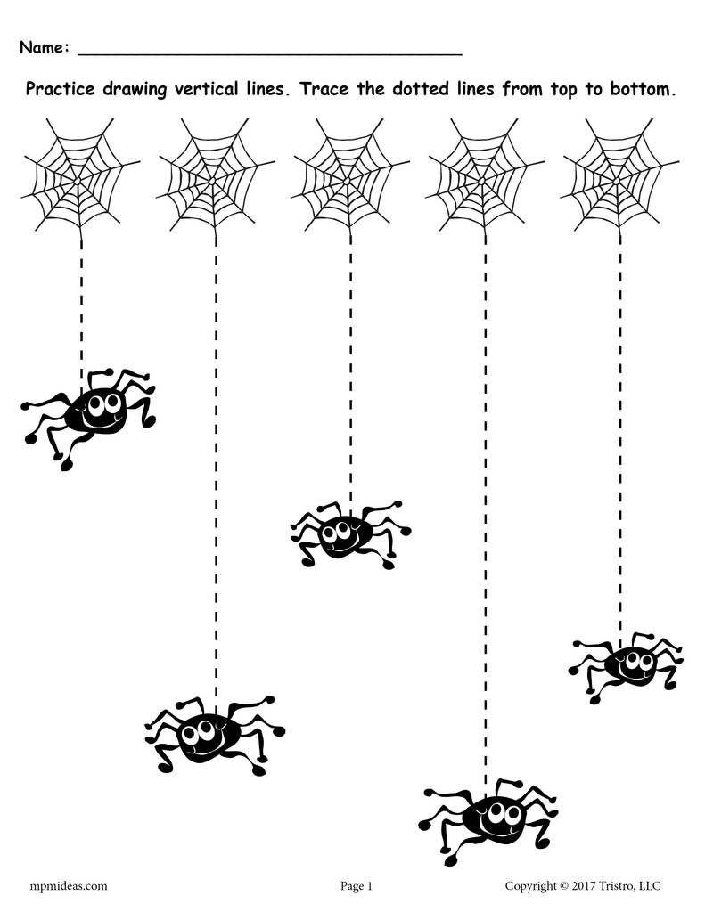 Horizontal and Vertical Lines Worksheet Printable Halloween Line Tracing Worksheets