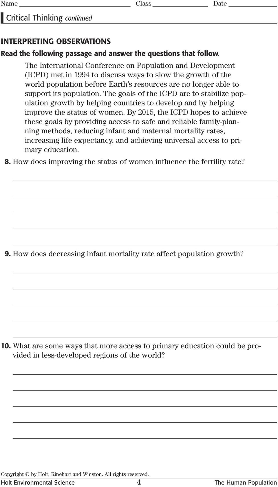 Human Population Growth Worksheet Critical Thinking Analogies Skills Worksheet Pdf Free