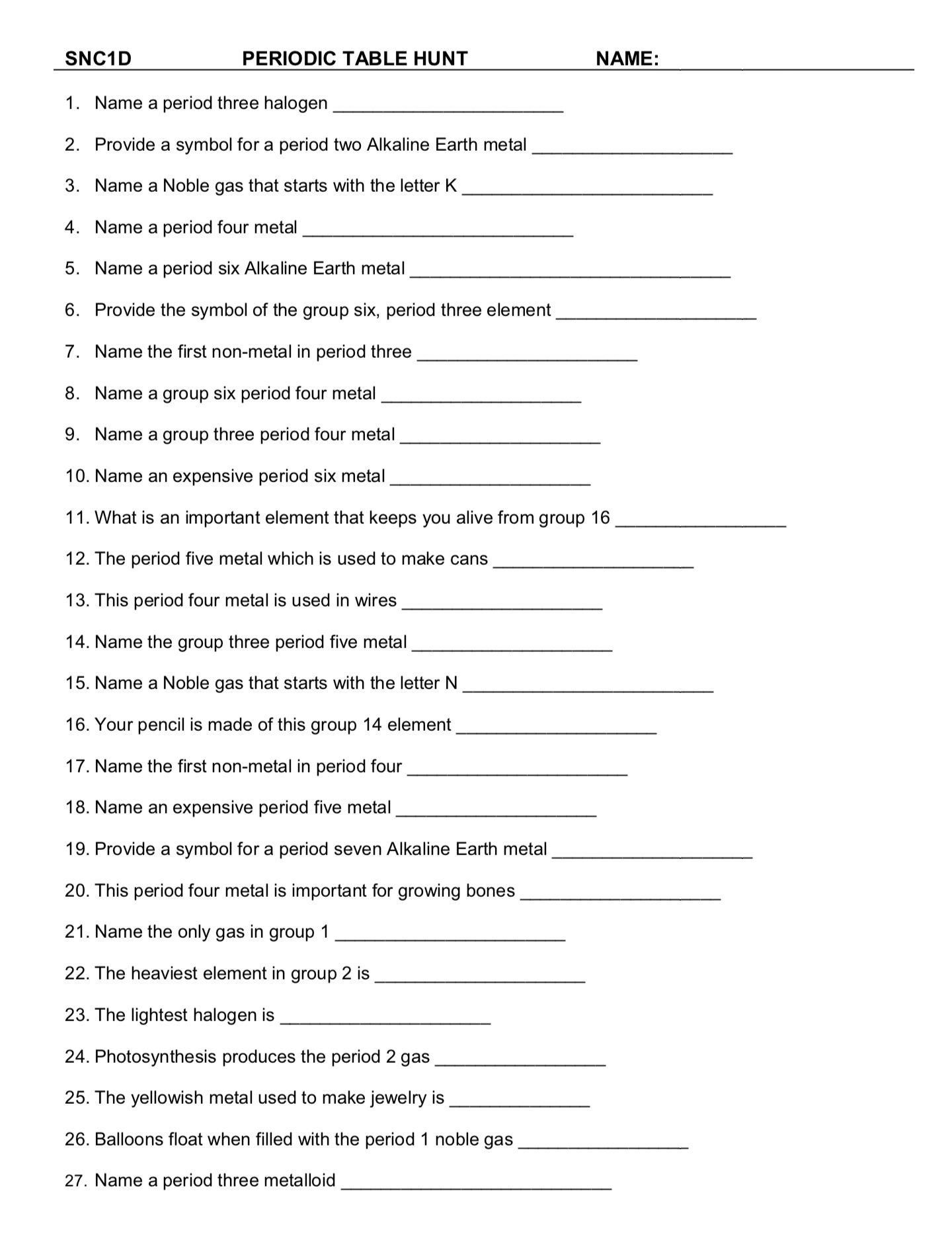 Hunting the Elements Worksheet Answers Pin On Printable Blank Worksheet Template