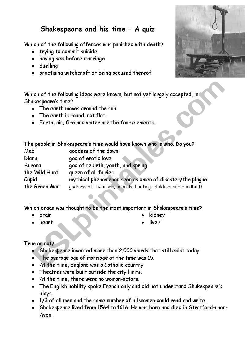 Hunting the Elements Worksheet Answers Short Quiz About Shakespeare and His Time Esl Worksheet by