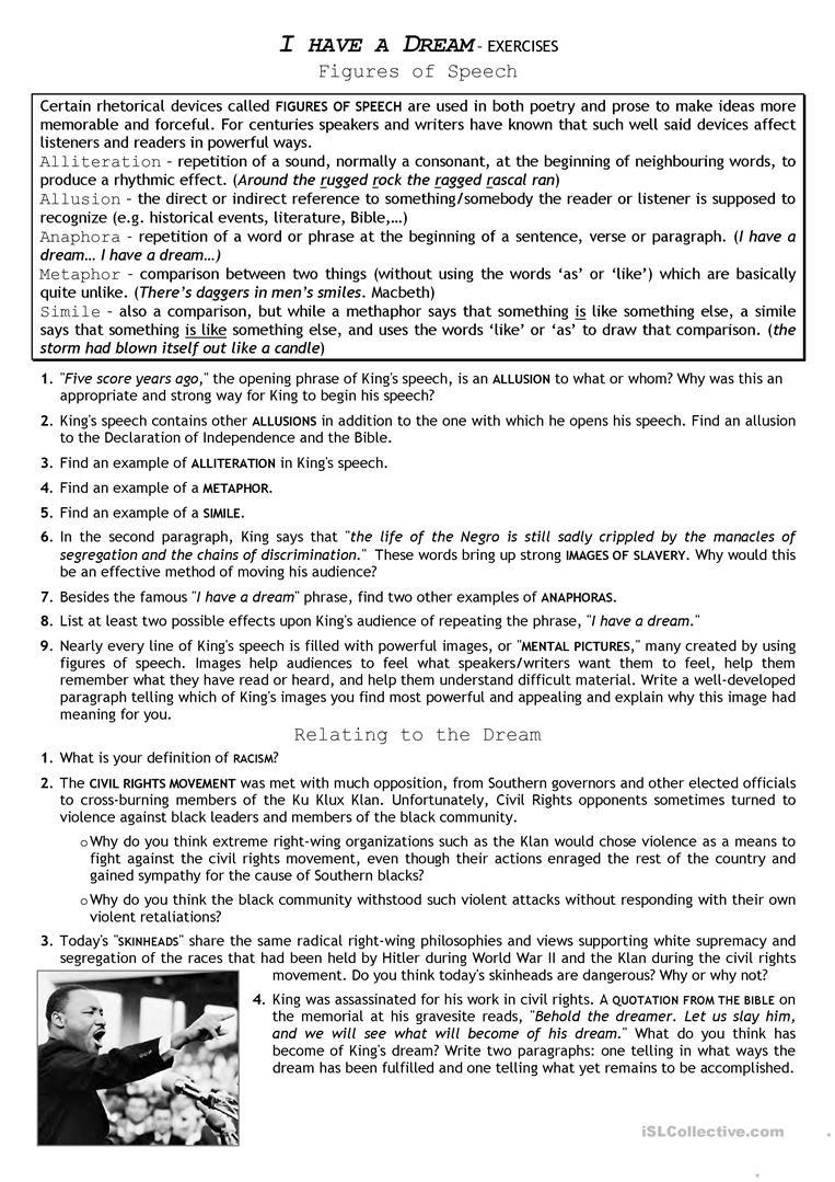 I Have A Dream Worksheet Civil Rights Movement I Have A Dream English Esl