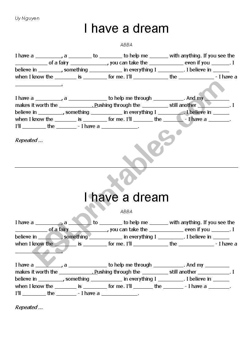 I Have A Dream Worksheet I Have A Dream Abba Esl Worksheet by Vinny4ever