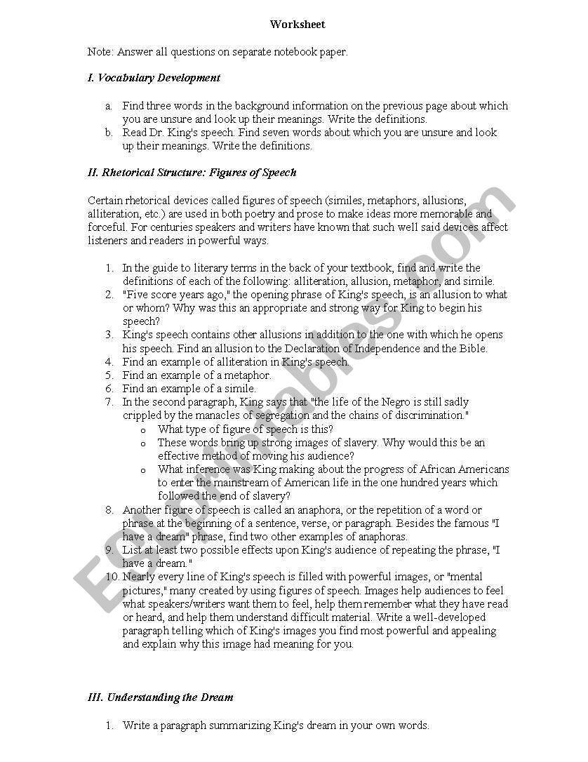 I Have A Dream Worksheet I Have A Dream Worksheet Esl Worksheet by Nmagee