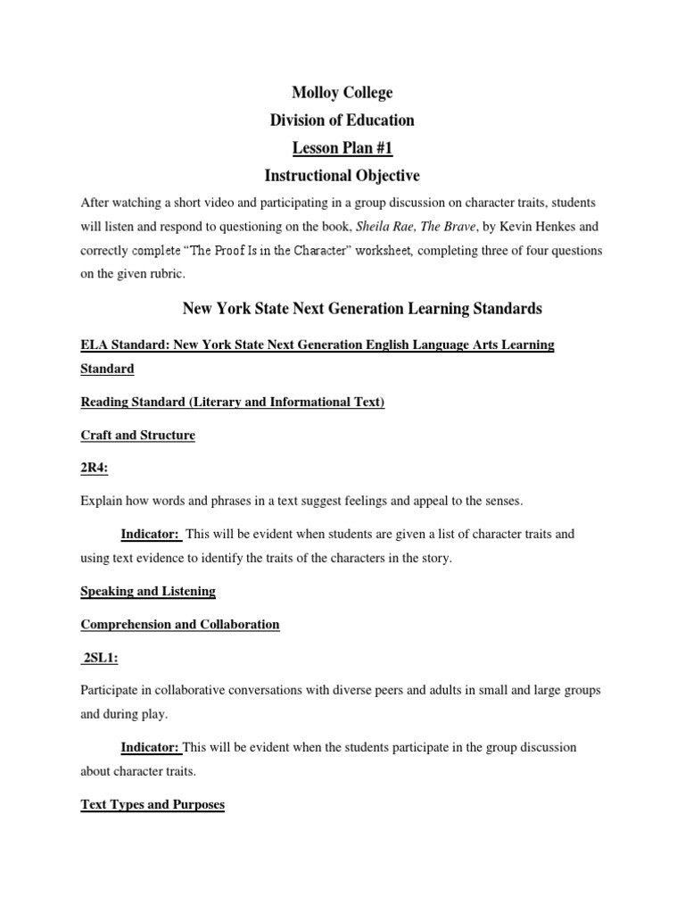 Identifying Character Traits Worksheet Molloy College Division Of Education Lesson Plan 1