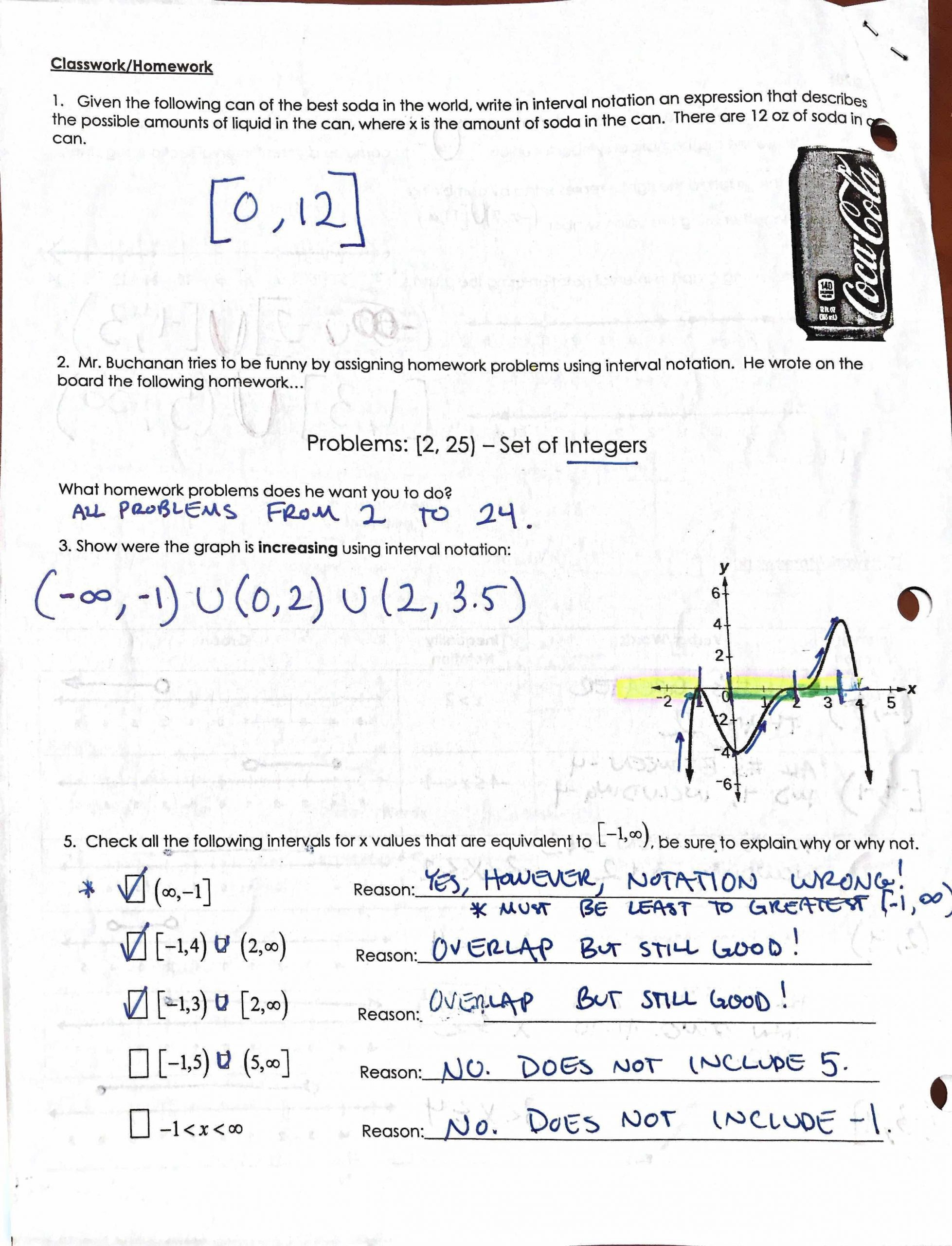 Interval Notation Worksheet with Answers Culver City High School
