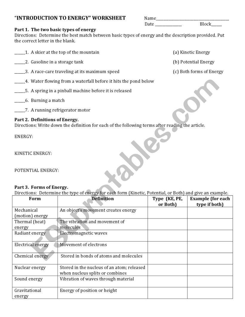 Introduction to Energy Worksheet Energy Esl Worksheet by Panitzine
