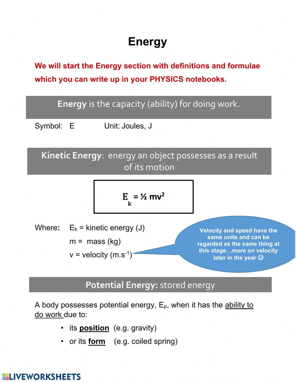 Introduction to Energy Worksheet Energy Interactive Worksheet