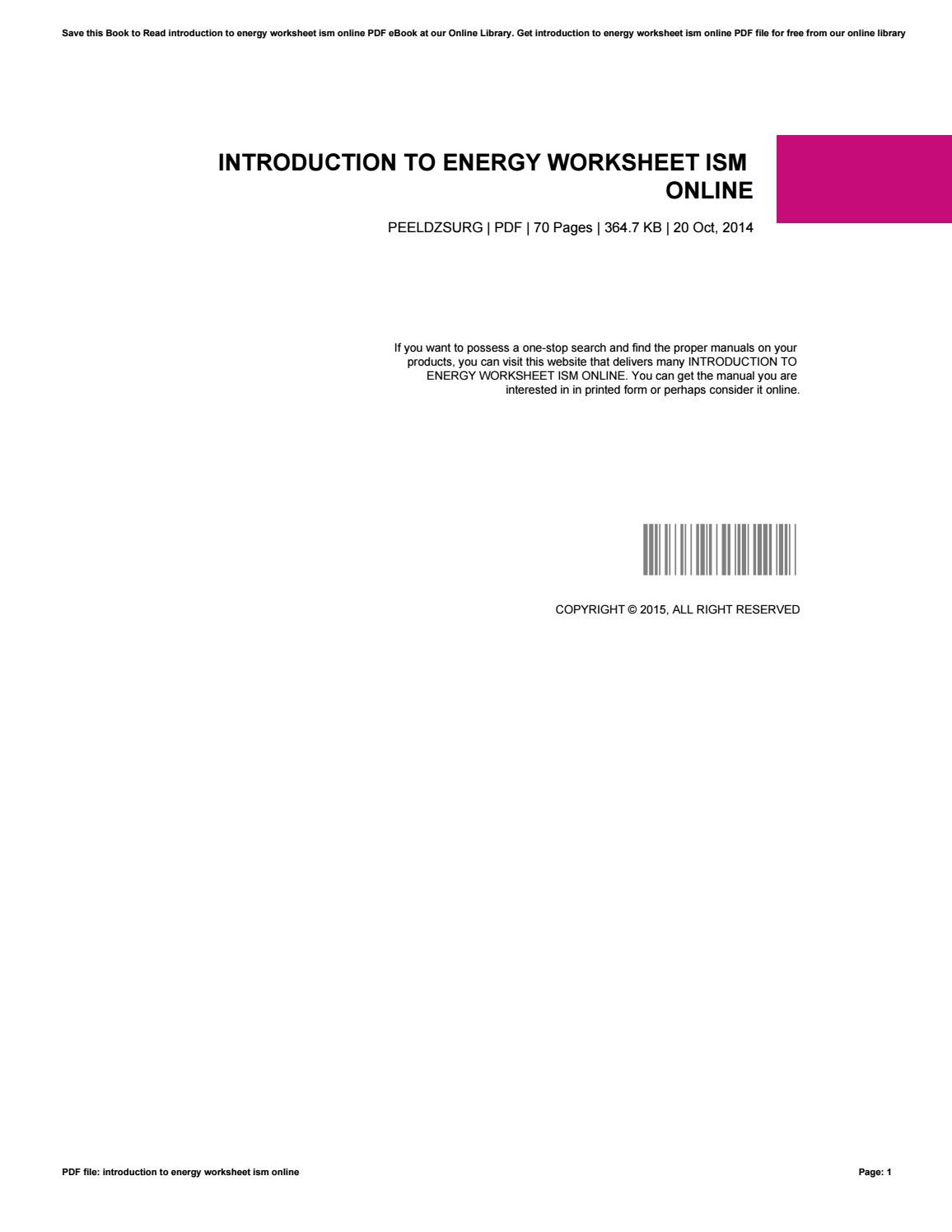 Introduction to Energy Worksheet Introduction to Energy Worksheet ism Online by Tm2mail742